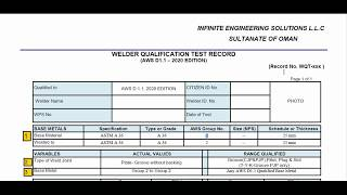 How to review  welder performance qualification  record as per AWS D1.1