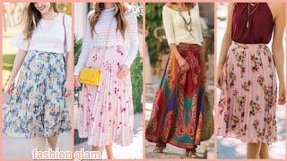 Summer Skirts/floral Skirts/midi Skirts/womens Casual Skirts/chiffon Skirts/pleated Skirts