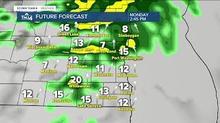 Rain expected Monday afternoon and into the evening