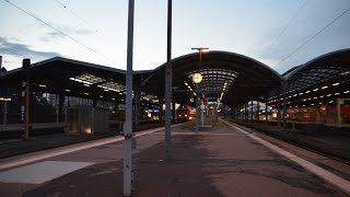 preview picture of video '120 146-6 On Tour: Kurzer Aufenthalt in Halle(Saale) Hbf am Abend'