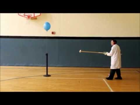 Science teacher pops three balloons filled with hydrogen and oxygen (warning: extremely loud)