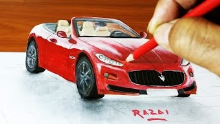 How to draw and paint Maserati car Trick Art 3d illusion on paper | dessin 3D | 3d drawing