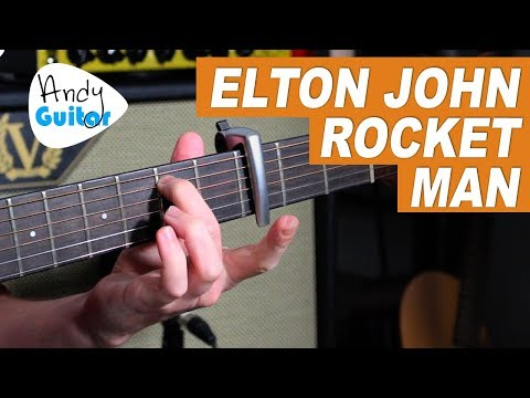 ELTON JOHN - ROCKET MAN Guitar Lesson - EASY CHORDS