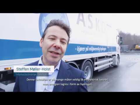 Hydrogenlastebilen til ASKO på det offisielle arrangementet 20. januar. Film: Karianne Hogne Teigland