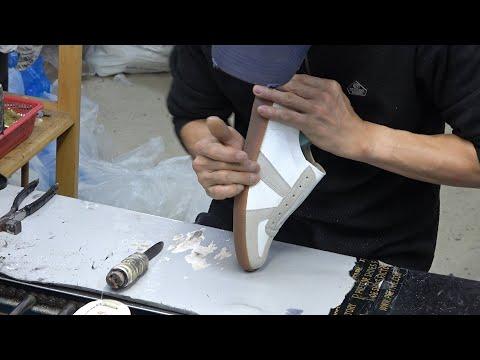 Old Shoe Factory in Korea. German Army Sneakers making Process