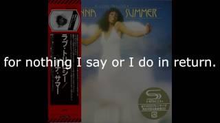 """Donna Summer - Wasted LYRICS - SHM """"A Love Trilogy"""" 1976"""