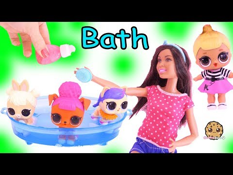 LOL Surprise Pets Bath In Water Pool With Barbie, Dog & Cat Toy Video