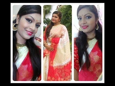 Durga puja special traditional bengali makeup look in bengali/festive makeup look/moreglamours