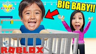 RYAN IS THE BIGGEST BABY IN ROBLOX! Let's Play Baby Simulator with Ryan's Mommy!