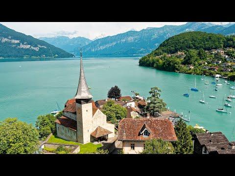 סרטון יפה ומלא שלווה של נופי העיירה אינטרלאקן בשווייץ