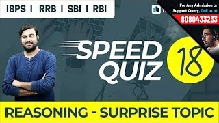 Reasoning Speed Quiz 18 Live on Surprise Topic   Solve with Shyam Sir for IBPS, RRB, RBI, NIACL