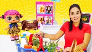 Valerias Spielzeug Kindergarten - Die L.O.L. Puppen im Supermarkt - Video mit Puppen für Kinder