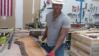 Squaring up a live edge bar top for wall mounting