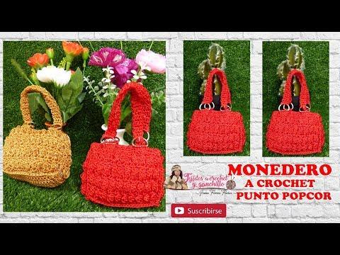 MONEDERO ROJO PUNTO POPCORN A CROCHET/ HILO MACRAME CLAVE