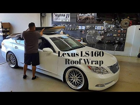 Lexus LS460 Glossy Black Roof Wrap on Starfire Pearl White