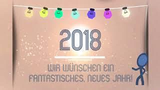 Video-Thumbnail von Videogrußbotschaft: Lichterkette, Aufschrift 2018, Texteinblendung: Wir wünschen ein fantastisches neues Jahr!