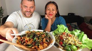 MUKBANG THAI FOOD BASIL CHICKEN(PAD KRA PAO)/PAPAYA SALAD(CUCUMBERS)SHOUT OUT & BIRTHDAYS