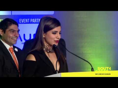 Samantha delivers her acceptance speech after winning an award at the SouthScope Lifestyle Awards