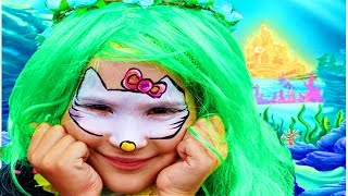Рисунок на лице ХЕЛЛО КИТТИ Урок рисования Развличения Развивающие видео  Как нарисовать КОТЕНКА?