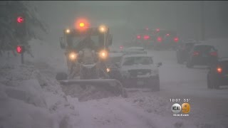 Heavy Snowfall Causes Major Road Problems In Big Bear