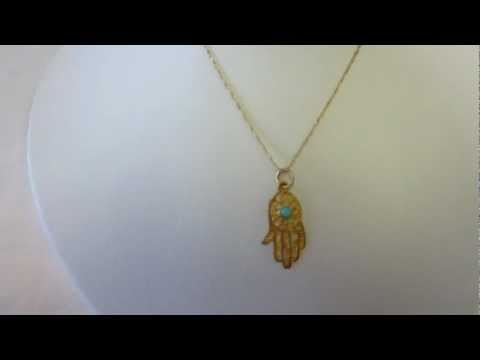 14Kt Gold Hamsa Pendant and 14K Gold Chain