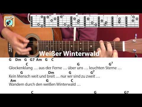 Weißer Winterwald, Winterlied für Kinder mit Gitarre, Text & Akkorde, Tutorial