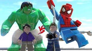 Lego Örümcek ve Lego Hulk İnsanlara Yardım Ediyor (Lego Super Marvel Heroes Oyunu)