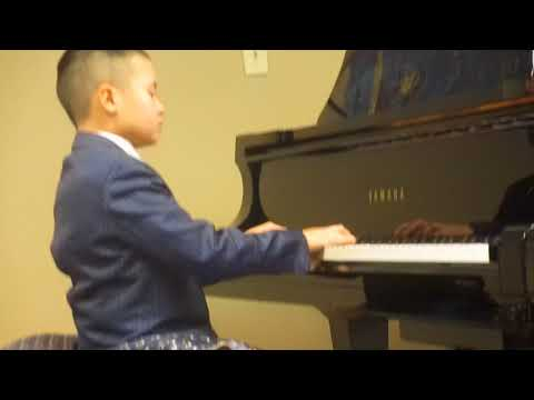 "One of our young students playing ""Aurora Borealis"" at the November piano recital. He is playing on a 9 foot Yamaha Concert Grand Piano"