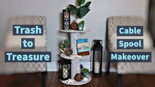 New Trash To Treasure DIY/Cable Spool Makeover/DIY Tiered Display Table