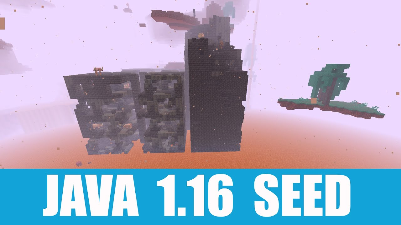 Minecraft Java 1.16 Seed: Crimson, warped forest and bastion remnant inside a ruined portal at spawn MINECRAFT SEED -3708919178175805469
