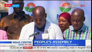 Former Machakos Senator Johnstone Muthama reads out NASA statement on way forward
