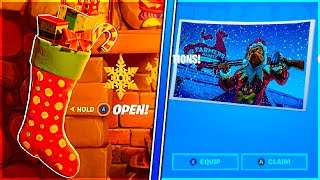 Search Holiday Stockings in The Winterfest Cabin and Damage With Snowball Launcher in Fortnite!
