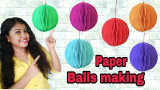 DIY Easy Party Decorations Ideas||Paper Balls Making... Easy Paper Craft!..ArtHolic KM