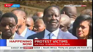 Raila Odinga consoles bereaved families of protest victims at City Mortuary