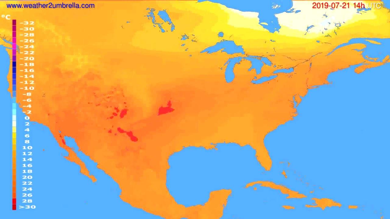 Temperature forecast USA & Canada // modelrun: 12h UTC 2019-07-19