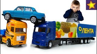Машинки Фура Грузовик Лента Машинки на дороге Trucks Toys for kids