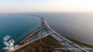 Аэросъемка строительства Крымского моста через Керченский пролив (Тамань, 2017)