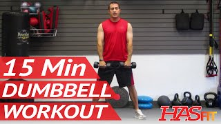 HASfit 15 Minute Dumbbell Workout Routine - Dumbbells Exercises for Strength - Training Work Out by HASfit