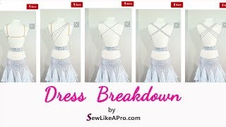 Decorative Back Straps Create Bust Support  For Competition Ballroom Dance, Country, Skater Dresses