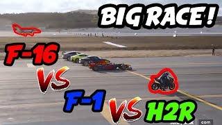 KAWASAKİ H2R vs F-16 vs F1 !