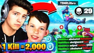 1 KILL = 2,000 *FREE* V-BUCKS! Fortnite: Battle Royale with my Little Brother!