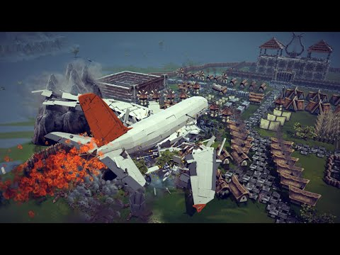 Airbus A380 Crashing Into a Small Village + Other Awesome Destruction   Besiege