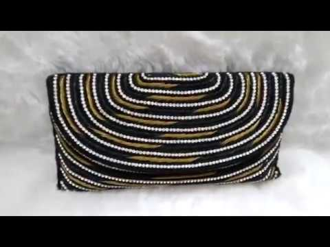 Raw Silk Designer Sling Clutch Bag