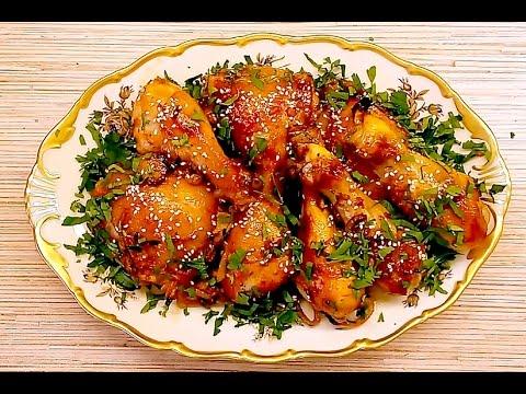 Курица в медово-соевом маринаде, запеченная в духовке.