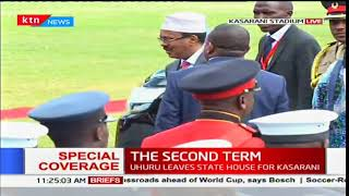 Somalia President Hassan Sheikh Mohamud arrives at Kasarani Stadium for the inauguration ceremony