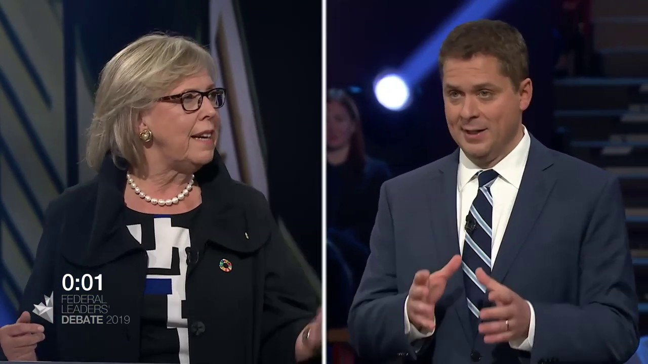 Elizabeth May debates household debt with Andrew Scheer