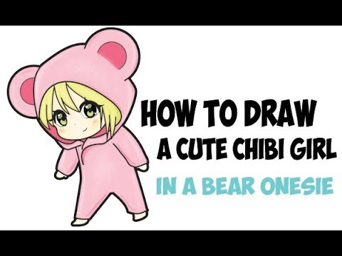 How to Draw a Chibi Girl in Bear Onesie Costume Pajamas Easy Step by Step Drawing for Kids