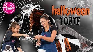 Halloween Torte / mit Marshmallow  Web Spinnweben / Sallys Welt