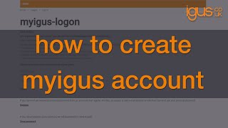 How to create a myigus account