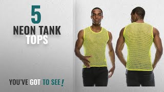 Top 10 Neon Tank Tops [Winter 2018 ]: Angel Cola Mens Mesh Fishnet Fitted Muscle Tank Top 2 Pack